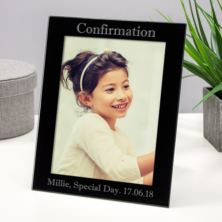 Personalised Confirmation Black Glass Frame