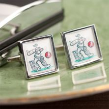 Personalised Cartoon Cricket Cufflinks