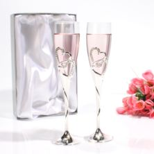 Personalised Pair of Champagne Glasses with Crystal Hearts