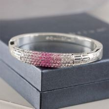 Curved Diamante Bangle in Personalised Box