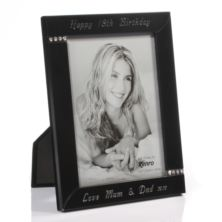 Engraved Black and Diamante Photo Frame