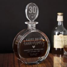 Personalised 30th Anniversary Lead Crystal Disc Decanter