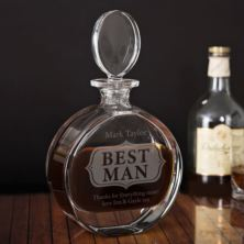 Personalised Best Man Lead Crystal Disc Decanter