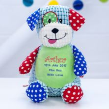 Personalised Embroidered Cubbies Harlequin Dog Soft Toy