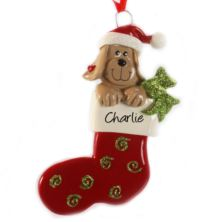 Personalised Dog In Stocking Hanging Ornament