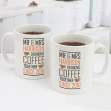 Personalised Pair Of Drinking Coffee Together Since Mugs