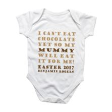 Easter gifts the gift experience eat my easter chocolate personalised baby grow negle