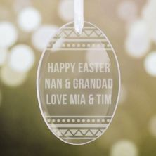 Personalised Hanging Oval Glass Easter Egg Decoration