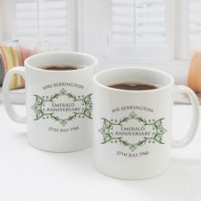 Pair of Personalised Emerald Anniversary Mugs
