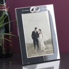 Engraved Crystal Rings Photo Frame