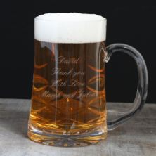 Engraved Straight Sided Cut Crystal Pint Tankard