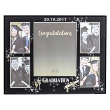 Personalised Large Black Glass Graduation Collage Photo Frame