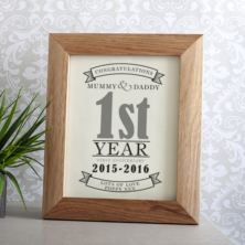 personalised first anniversary framed print