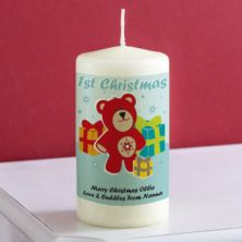 Personalised 1st Christmas Teddy Bear Candle