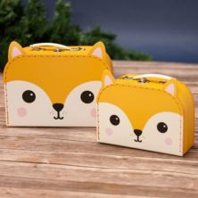 Set of 2 Hiro Fox Kawaii Friends Suitcases