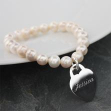 Freshwater Pearl Bracelet With Engraved Silver Plated Heart