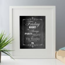 Friday Night Is Party Night Personalised Framed Print