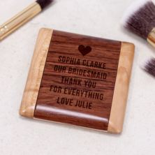 Luxury Personalised Maple and Rosewood Combo Pocket Mirror