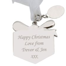 Engraved Glitter Present Tree Decoration