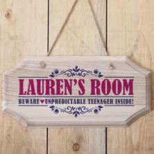 Personalised Girls Name Hanging Wooden Sign