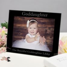 Personalised Goddaughter Black Glass Photo Frame