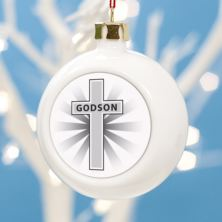 Personalised Godson Christmas Bauble