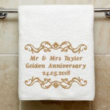 Personalised Embroidered Golden Anniversary Towel
