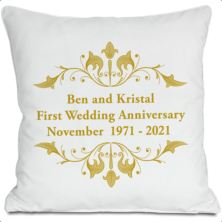 Exclusive Personalised Golden Anniversary Doodle Heart Cushion by DoodleDeb