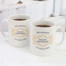 Pair of Personalised Golden Anniversary Mugs