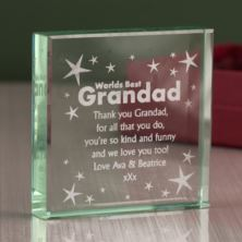Personalised Worlds Best Grandad Glass Keepsake