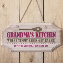 Personalised Grandma's Kitchen Hanging Wooden Sign