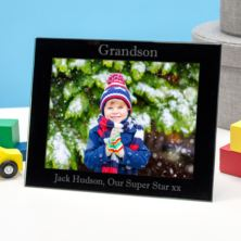Personalised Grandson Black Glass Photo Frame