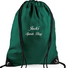 Personalised Embroidered Green Gym/PE/Swim Kit Bag