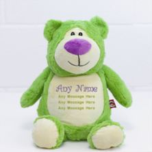 Personalised Embroidered Cubbies Lime Green Bear Soft Toy