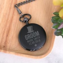 Father Of The Groom Personalised Black Pocket Watch