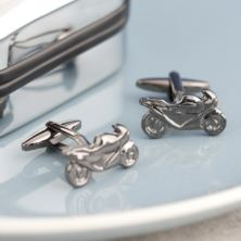 Motor Bike Cufflinks in Personalised Box