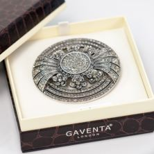 Art Deco Inspired Round Brooch in Personalised Gift Box