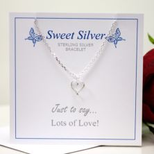 Sterling Silver Open Heart Charm Braclet Presented On Gift Card