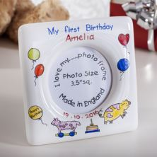 Personalised First Birthday Heron China Photo Frame