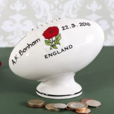Personalised Hand Painted China Rugby Ball Money Box