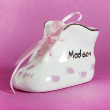 Personalised China Little Feet Bootee Pink