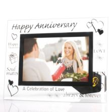 Happy Anniversary Glass Photo Frame