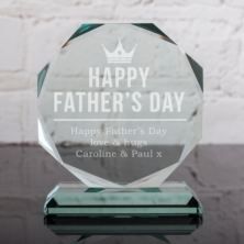 Personalised Happy Father's Day Glass Octagon Award