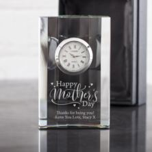 Personalised Happy Mother's Day Crystal Mantel Clock