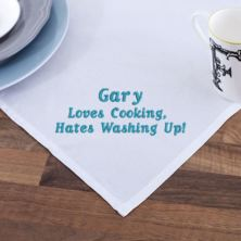 Embroidered Loves Cooking, Hates Washing Up Tea Towel