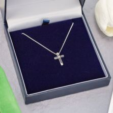 Diamond Cross Pendant in Personalised Gift Box