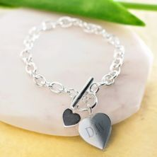 Sterling Silver Heart Bracelet With Personalised Box