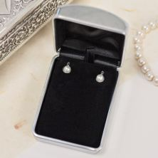 Pearl Earrings in Engraved Gift Box