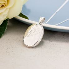 Sterling Silver Oval Double Photo Locket with Personalised Gift Box
