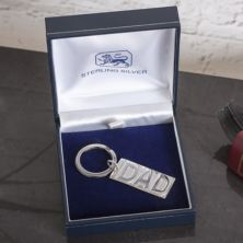 Personalised Sterling Silver Dad Keyring